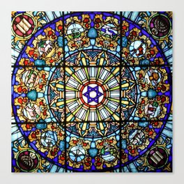 Vitrage stained glass church window Canvas Print