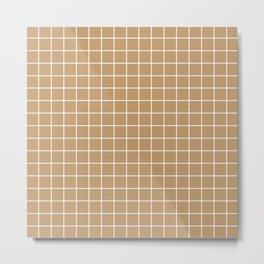Camel - brown color - White Lines Grid Pattern Metal Print