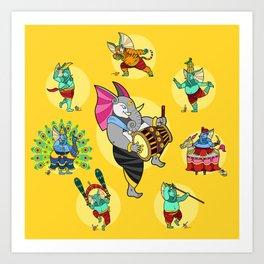 Ganesha Folk Dances Art Print