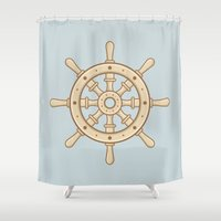 ships Shower Curtains featuring Ships Ahoy! by CaseyIllustrates