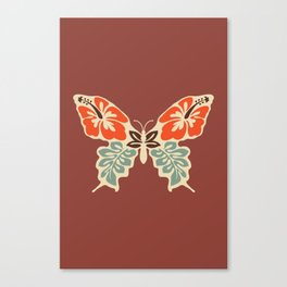 Butterfly 70s Floral Retro Mid Century Modern Rusty Brown Terracotta Boho Old School Canvas Print