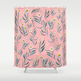 Pink white leaves Shower Curtain