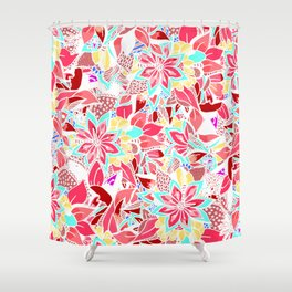 Girly coral pink hand drawn flowers Shower Curtain