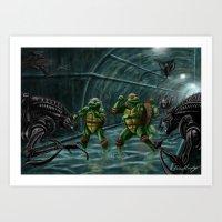 TMNT vs Aliens Art Print