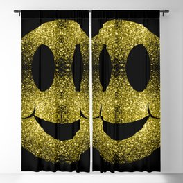 Sparkly Smiley Yellow Gold sparkles Blackout Curtain