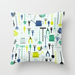 Cute Gardening Tools in green and blue Throw Pillow