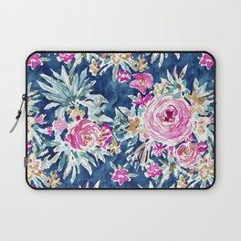 DEFLORABLE Pink Blue Floral Laptop Sleeve