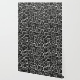 Black & White Hand Drawn People Pattern Wallpaper