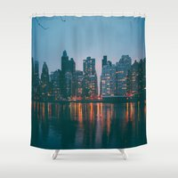 skyline Shower Curtains featuring skyline by Julia Yusupov
