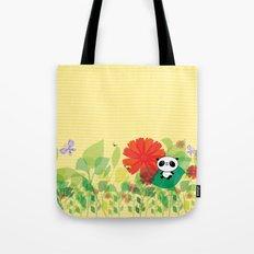 panda and flowers Tote Bag
