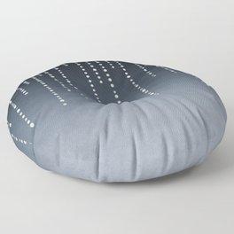 Rhinestone Faux Glitter Line On Dark Blue Floor Pillow