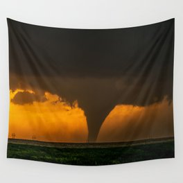 Silhouette - Large Tornado at Sunset in Kansas Wall Tapestry