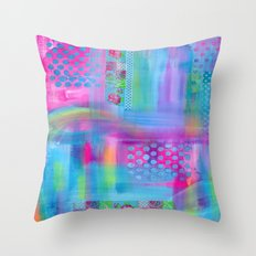 Pink with Blue Dots Throw Pillow