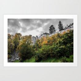 Cesky Krumlov Trees Art Print