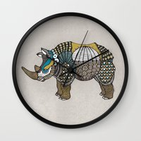 rhino Wall Clocks featuring Rhino by farah allegue