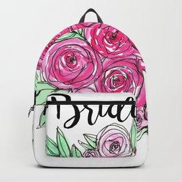 Bridesmaid Wedding Pink Roses Watercolor Backpack