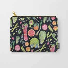 Spring Harvest Pattern Dark Carry-All Pouch