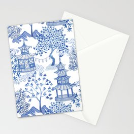 Pagoda Forest Blue and White Stationery Cards