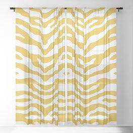 Zebra Wild Animal Print Mustard Yellow Sheer Curtain