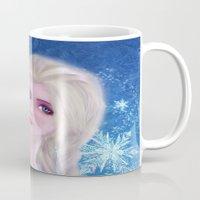 frozen elsa Mugs featuring Elsa Frozen by sazrella illustration