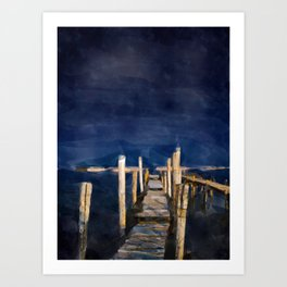 Blue Sky Jetty Art Print