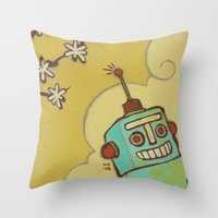 robot Throw Pillows featuring Robot by Willow Dawson