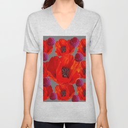 SUCCULENT PURPLE RASPBERRIES & ORANGE POPPIES ABSTRACT Unisex V-Neck