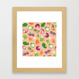 Peach pink veggies illustration pattern | Vegetables pattern Framed Art Print