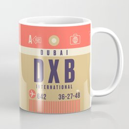 Retro Airline Luggage Tag - DXB Dubai UAE Coffee Mug