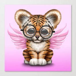 Tiger Cub with Fairy Wings Wearing Glasses on Pink Canvas Print