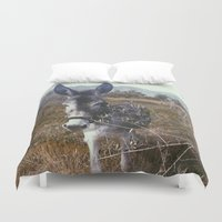 "donkey Duvet Covers featuring ""Retro Donkey"" by Guido Montañés"