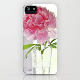 Pink peony in glass vase iPhone Case