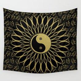 'Yin Yang Golden Daisy' Gold Black mandala Wall Tapestry