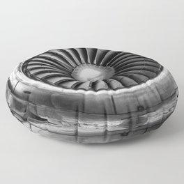 Vintage Airplane Turbine Engine Black and White Photography / black and white photographs Floor Pillow