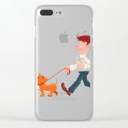 A man walking with his dog Clear iPhone Case
