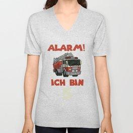 cute fire truck birthday shirt firefighter 5 Unisex V-Neck