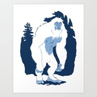 yeti Art Prints featuring Yeti by Rachel Young