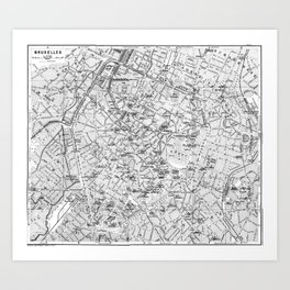 Vintage Map of Brussels (1905) BW Art Print
