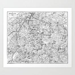 Vintage Map of Brussels (1905) BW Art Print
