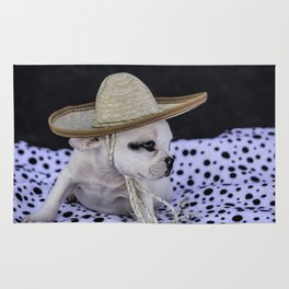 Tiny White French Bulldog Puppy with Black Markings Wearing an Oversize Sombrero Hat Rug