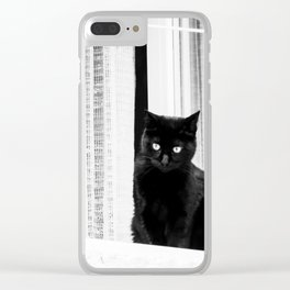 Black Cat at The Window - Black and White #decor #society6 #buyart Clear iPhone Case