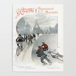 "Modern Professional Cycling ""Le Cyclisme Profession Moderne"" 19th Century French Artwork Poster"