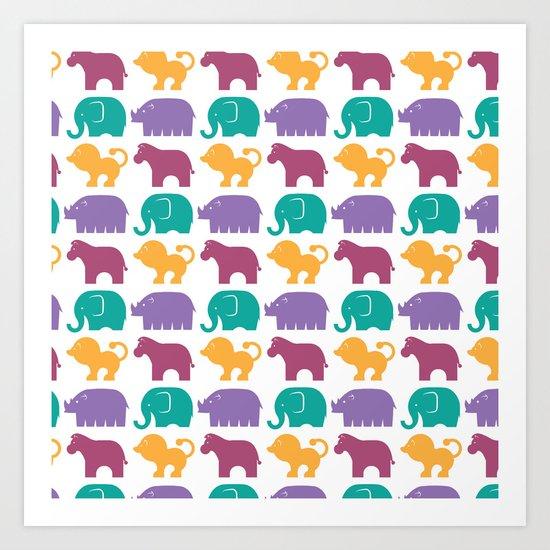 Fun at the Zoo: Pattern Art Print