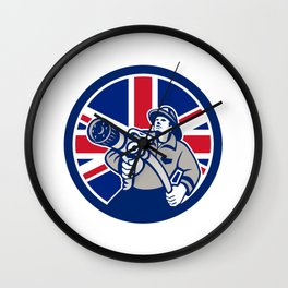 British Firefighter Union Jack Flag Icon Wall Clock