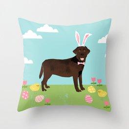 Chocolate Lab labrador retriever dog breed pet art easter portrait costume spring Throw Pillow