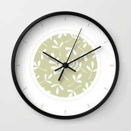 Assorted Leaf Silhouettes White on Lime Wall Clock