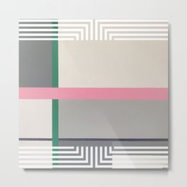 Geen line - white graphic Metal Print