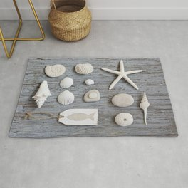 Happy Beach Memories Flat Lay Collage On Driftwood Rug