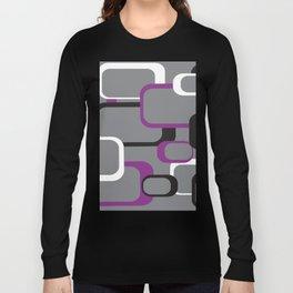 Violet Purple White Black Retro Square Pattern Gray Long Sleeve T-shirt