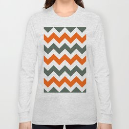Chevron Pattern In Russet Orange Grey and White Long Sleeve T-shirt